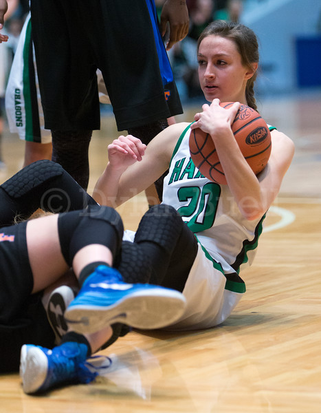 "Dylan Buell | dylanphotog@gmail.com | @dylanphotog<br /> Emma Bianchi #20 of the Harlan Dragons grabs a loose ball during the All ""A"" Tournament at the Frankfort Convention Center Friday."