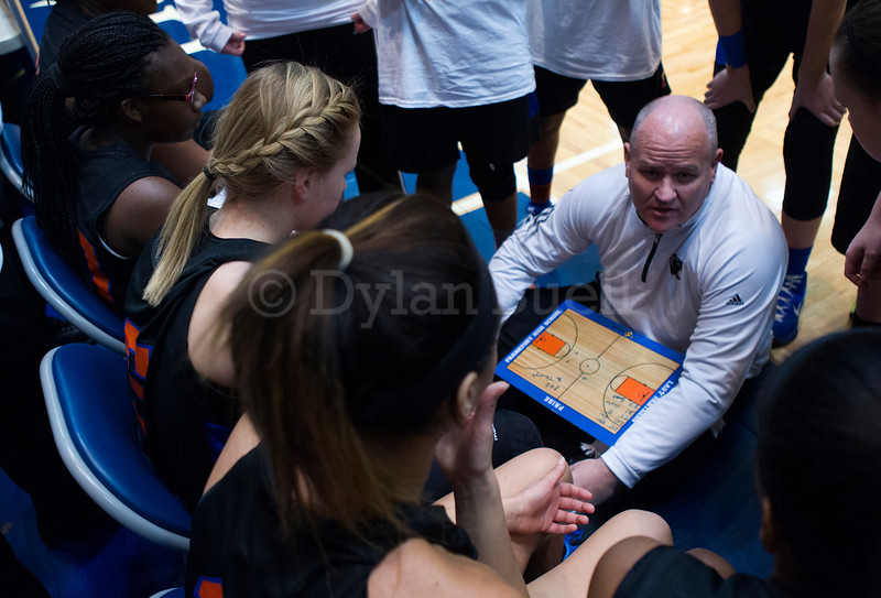 "Dylan Buell | dylanphotog@gmail.com | @dylanphotog<br /> Head coach Deron Norman of the Frankfort Panthers talks to his team during the All ""A"" Tournament at the Frankfort Convention Center Friday."