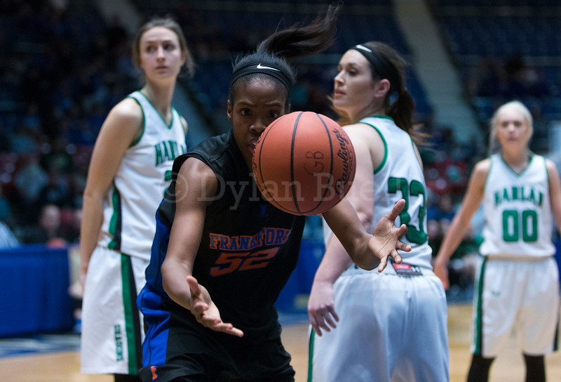"""Dylan Buell   dylanphotog@gmail.com   @dylanphotog<br /> BriAnna Burbridge #52 of the Frankfort Panthers reaches for a loose ball during the All """"A"""" Tournament at the Frankfort Convention Center Friday."""