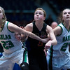 "Dylan Buell | dylanphotog@gmail.com | @dylanphotog<br /> Brandi Haywood #23 and Taylor Simpson #22 of the Harlan Dragons and Ellen Williams #5 of the Frankfort Panthers box out during the All ""A"" Tournament at the Frankfort Convention Center Friday."