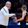 "Dylan Buell | dylanphotog@gmail.com | @dylanphotog<br /> Head coach Deron Norman of the Frankfort Panthers talks to Ellen Williams #5 during the All ""A"" Tournament at the Frankfort Convention Center Friday."