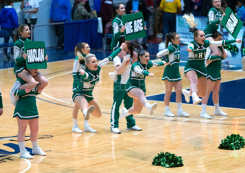 """Dylan Buell   dylanphotog@gmail.com   @dylanphotog<br /> Harlan cheerleaders perform during the All """"A"""" Tournament at the Frankfort Convention Center Friday."""