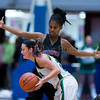 """Dylan Buell   dylanphotog@gmail.com   @dylanphotog<br /> Shaylen Washington #3 of the Frankfort Panthers defends against Brooklyn Massingill #25 of the Harlan Dragons during the All """"A"""" Tournament at the Frankfort Convention Center Friday."""