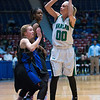 "Dylan Buell | dylanphotog@gmail.com | @dylanphotog<br /> Jordan Brock #00 of the Harlan Dragons attempts a shot over Ellen Williams #5 of the Frankfort Panthers during the All ""A"" Tournament at the Frankfort Convention Center Friday."