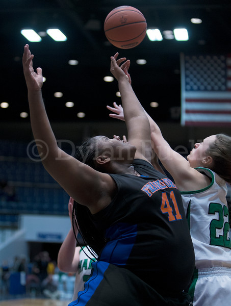 "Dylan Buell | dylanphotog@gmail.com | @dylanphotog<br /> Jasmine Turpin #41 of the Frankfort Panthers and Taylor Simpson #22 of the Harlan Dragons battle for a rebound during the All ""A"" Tournament at the Frankfort Convention Center Friday."