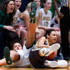 "Dylan Buell | dylanphotog@gmail.com | @dylanphotog<br /> Alexandria Mayes #4 of the Murray Tigers and Mikayla Berry #10 of the Owensboro Catholic Aces battle for a loose ball during the All ""A"" Classic Championship at the Frankfort Convention Center Sunday."
