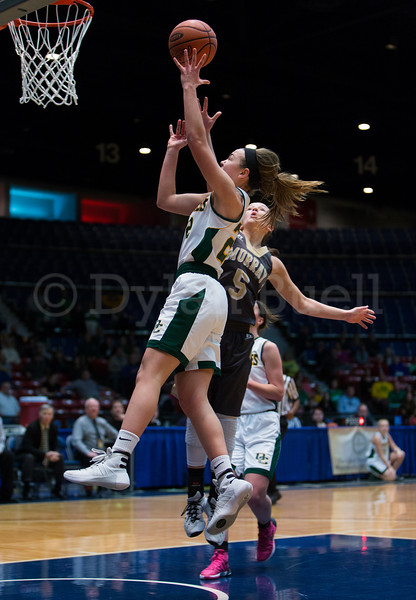 "Dylan Buell | dylanphotog@gmail.com | @dylanphotog<br /> Annabel Moore #22 of the Owensboro Catholic Aces attempts a layup during the All ""A"" Classic Championship at the Frankfort Convention Center Sunday."