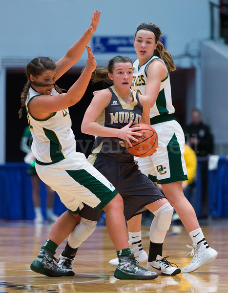 "Dylan Buell | dylanphotog@gmail.com | @dylanphotog<br /> Macey Turley #5 of the Murray Tigers is defended by Mikayla Berry #10 and Annabel Moore #22 of the Owensboro Catholic Aces during the All ""A"" Classic Championship at the Frankfort Convention Center Sunday."