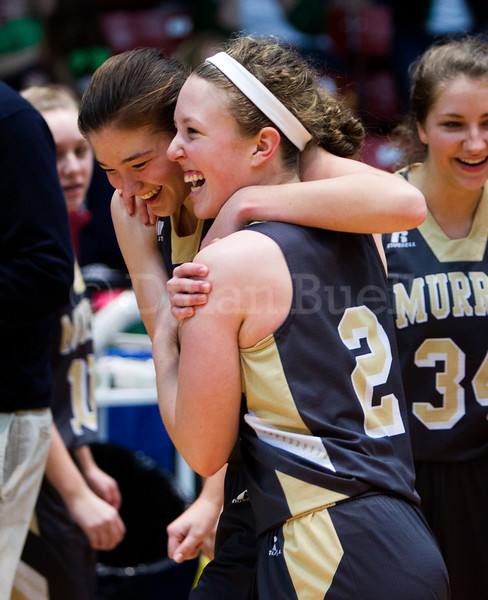 """Dylan Buell   dylanphotog@gmail.com   @dylanphotog<br /> Brittany Lawson #2 and Alexis Burpo #32 of the Murray Tigers celebrate during the All """"A"""" Classic Championship at the Frankfort Convention Center Sunday."""