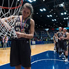 """Dylan Buell   dylanphotog@gmail.com   @dylanphotog<br /> Lily Ramey #34 of the Murray Tigers cuts down the net after the All """"A"""" Classic Championship at the Frankfort Convention Center Sunday."""