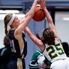 "Dylan Buell | dylanphotog@gmail.com | @dylanphotog<br /> Maddie Waldrop #21 of the Murray Tigers blocks a shot attempt by Caroline Hayden #25 of the Owensboro Catholic Aces during the All ""A"" Classic Championship at the Frankfort Convention Center Sunday."