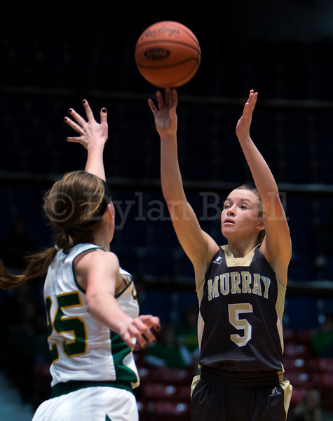 """Dylan Buell   dylanphotog@gmail.com   @dylanphotog<br /> Macey Turley #5 of the Murray Tigers attempts a shot over Caroline Hayden #25 of the Owensboro Catholic Aces during the All """"A"""" Classic Championship at the Frankfort Convention Center Sunday."""