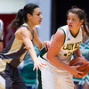 "Dylan Buell | dylanphotog@gmail.com | @dylanphotog<br /> Alexandria Mayes #4 of the Murray Tigers guards against Mikayla Berry #10 of the Owensboro Catholic Aces during the All ""A"" Classic Championship at the Frankfort Convention Center Sunday."