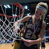 """Dylan Buell   dylanphotog@gmail.com   @dylanphotog<br /> Maddie Waldrop #21 of the Murray Tigers cuts down the net after the All """"A"""" Classic Championship at the Frankfort Convention Center Sunday."""