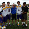 Miles (7) Ty (19) and Lyle (4) Thompson, representing the Iroquois Nationals along with UAlbany coach Eric Wolf, representing Israel, and Miles' and Lyle's father Jerome at the world championships.