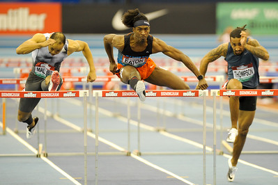 Jarret Eaton of the USA wins the mens 60 metre hurdles at the Muller Indoor Grand Prix in a time seasons best time of 7.51 seconds.