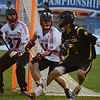 Lyle Thompson (4) holds the ball against Canada during the World Lacrosse Championships. Photo: Kenny Frost, Iroquois Nationals