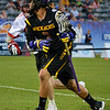 Miles Thompson looks to pass against Canada at the World Lacrosse Championships. Photo: Kenny Frost, Iroquois Nationals