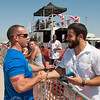 Josh Bell greets his friend Richard Alvarez, owner of CrossFit Riverside.