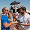 Josh Bell greets his friend Richard Alvarez, owner of CrossFit Riverside.