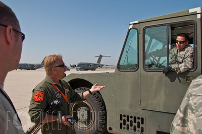 Lt Colonel Keith Guillotte assigned to the 452nd Operations Group, conducts a pre-event briefing to members participating in the base Air show at March Air Reserve Base, Ca on May 19, 2012.