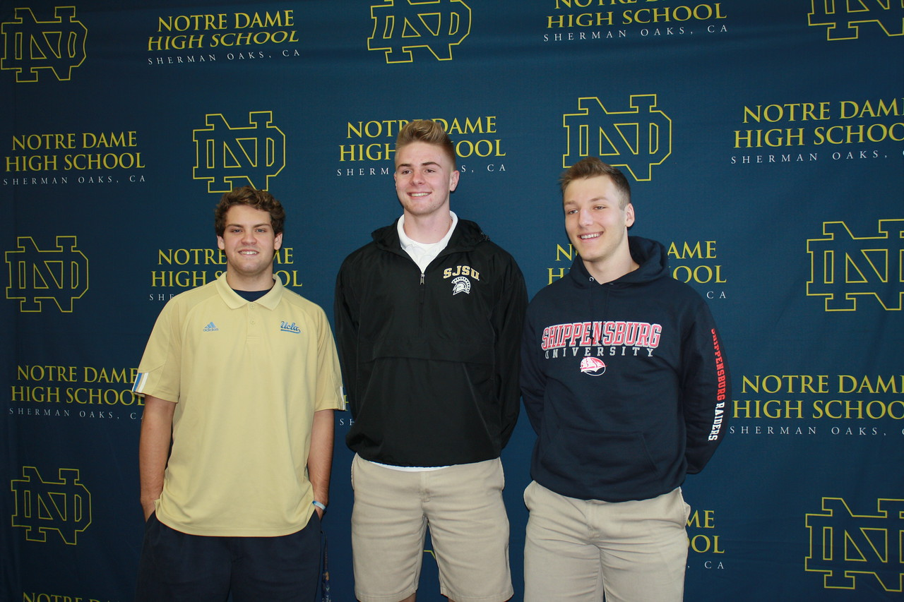 Football commits Koby Walsh (left to right), Billy Humphreys and Cole Klayman.