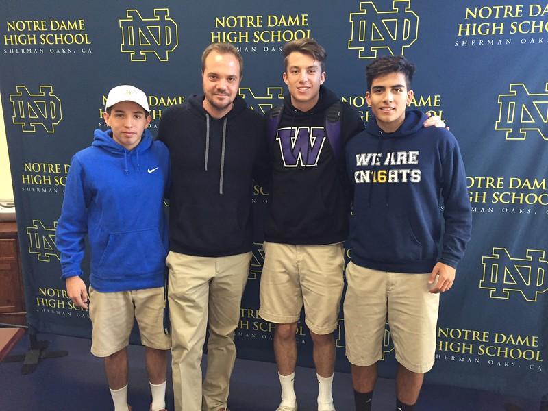 Ronaldo Lomeli (left to right), Head Soccer Coach Patrick Thomsen, Jesse Fitzgerald and Phillipe Zamignani.