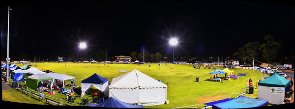 Panorama of Relay for Life on Berri Oval at night