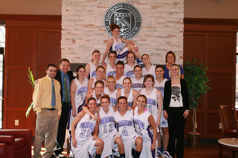 Fontbonne Women's Basketball 2007-2008: Front Row: Lauren Crain, Kasey Thompson, Liz Seely, Amber Karnes. Second Row: Abbey Franklin, Lindsay Martin, Megan Zehner, Sarah Criss. Third Row: Michelle Reale, Molly Rozier, Kristin Chamberlin, Rosie Patterson, Katie Leslie. Fourth Row: Katie Kirby, Mary Valli, Heather McAllister, Christina Thebeau. Top Calli Collier. Manager Joe Maier. Coaches Keith Quibley, Maureen Roberts, an Greta Grothe