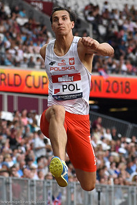 London, UK. 14th July, 2018. Karol Hoffmann wins the men's triple jump with a leap of 16.74 at the Athletics World Cup 2018.