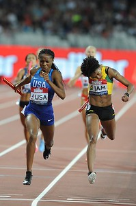 London, UK. 14th July, 2018. Team USA beat Jamaica into second place in the women's 400x400 metres relay in a time of 3:24.28 at the inaugural Athletics World Cup.