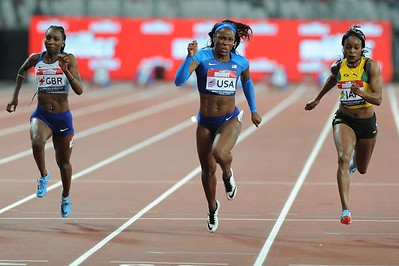 London, UK. 14th July, 2018. Ashley Henderson wins the women's 100 metres beating the Olympic Champion Elaine Thompson in a time of 11.07 seconds.