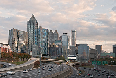 View of Atlanta's skyline from north of downtown at the North Avenue overpass.