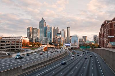 Atlanta's skyline wide from North Avenue
