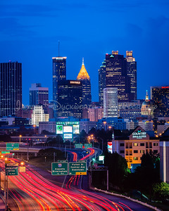 "Atlanta's skyline from the south looking north at the ""blue hour"""