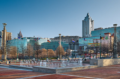 Centennial Park Fountains on a winter morning