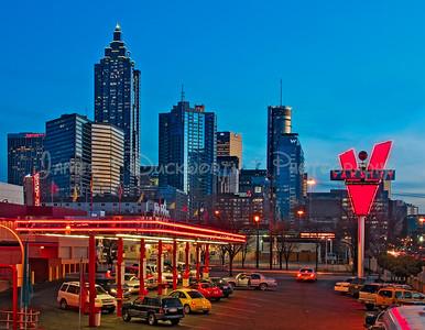 Atlanta's skyline looking south from the Varsity Restaurant along Interstate 85.