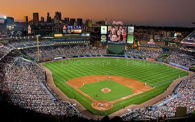 Atlanta's skyline from Turner Field during an Atlanta Braves baseball game.