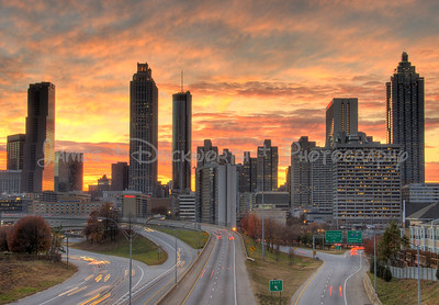 Atlanta skyline at sunset from the Jackson Street Bridge.