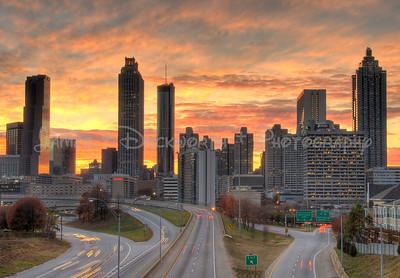 Atlanta skyline at sunset from the Jackson Street Bridge.