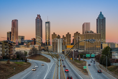 Atlanta's skyline from the Jackson Street Bridge as the day begins.