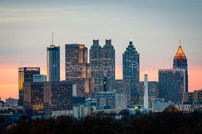 View of Atlanta's Skyline at dusk from the Southside of the City.