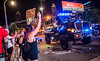 Riots have broken out in Atlanta around the CNN Center and on Friday, May 29, 2020.  Protesters and police clash at the corner of Marietta Street and Centennial Olympic Park.  (Jenni Girtman for The Atlanta Journal-Constitution)