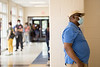 Voters wait in long lines at Peachcrest Elementary School on Tuesday, June 9, 2020.  The gym only has five voting machines set up despite having nine others onsite.  The Covid-19 restrictions only allow 10 people in the gym at a time so many machines are not being used, creating long wait times.  The lines around lunchtime were taking 2.5 hours.  (Jenni Girtman for The Atlanta Journal-Constitution)