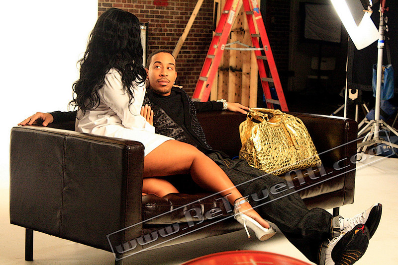 "Ludacris on the set of the Chris Robinson directed video ""Nasty Girl"". It featured Plies, but he's coming up later on in this gallery. In the original gallery, there wasn't that many photos cause DTP was staring me down..."