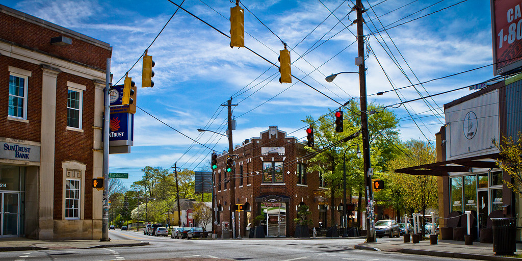 Atlanta, GA: Flat Shoals Avenue and Glenwood Avenue in downtown East Atlanta.