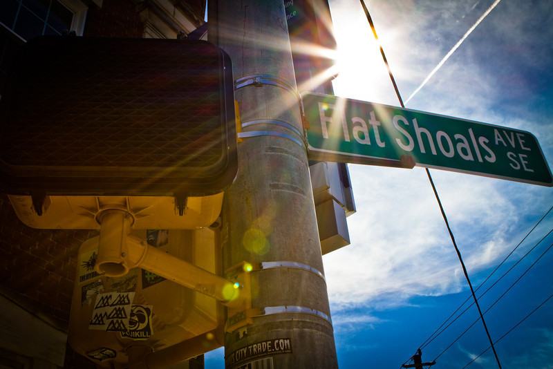 Atlanta, GA: Street sign at the intersection of Flat Shoals Avenue and Glenwood Avenue in East Atlanta