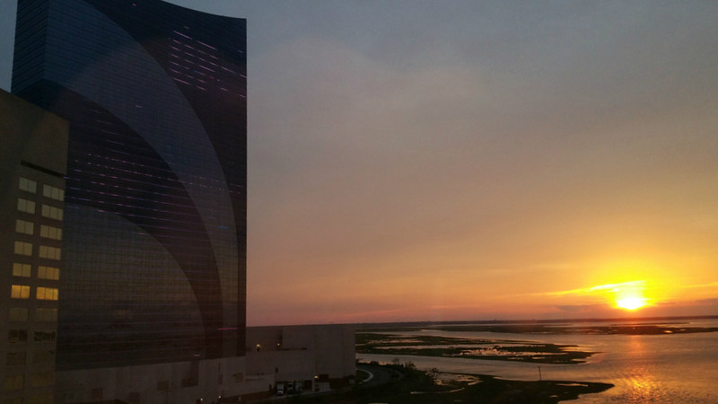 looking out over Absecon Bay at Sunset from Harrahs