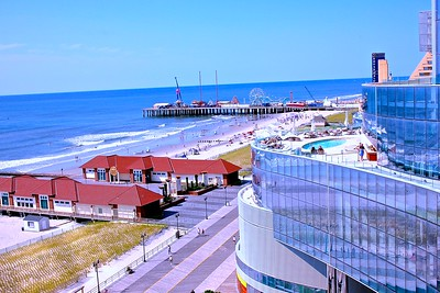 View of the Famous Atlantic Boardwalk and Steel Pier from the Revel