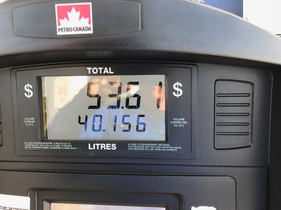 This would be my only Canadian gas of the trip. They sell it in liters at about $4 USD per gallon.
